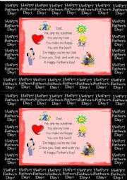 English Worksheet: Father´s Day Card