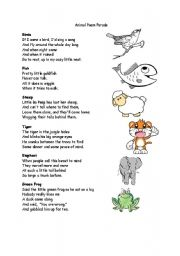 English Worksheet: Animal Poem Parade