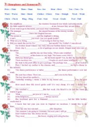 English Worksheet: Homophones and homonyms