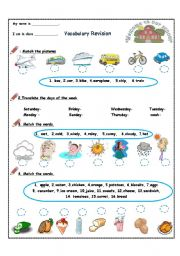 Vocabulary Revision- 4th grade( 4 pages)
