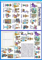 English Worksheet: Everyday actions (1/5)