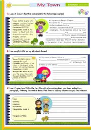 English Worksheets: Writing series  (2)  -  Reading/ Writing activity  -  My Town for Lower  Intermediate and Upper elementary students
