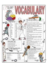 English Worksheet: �RECYCLING VOCABULARY� - TOPIC: FOOD - FRUIT - VEGETABLES. Elementary and up