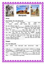 Australian Aborigines Comprehensive Unit of Work - (( 11 pages )) - elementary to intermediate - editable