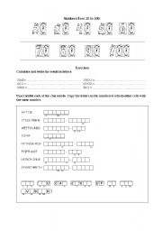 English worksheet: Numbers from 20 to 100