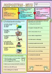 English Worksheet: Preposition - with