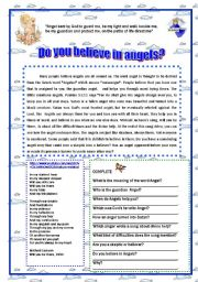 English Worksheets: Do you believe in Angels?   Reading and answer the questions