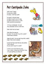 English Worksheets: Pet Centipede Joke - Pre-Intermediate