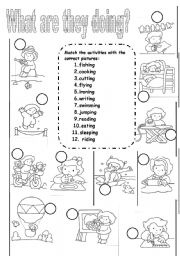 English Worksheets: Actions : verbs -ing
