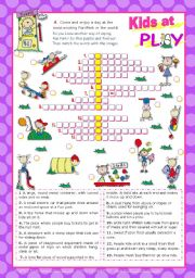 English Worksheet: Kids at Play Set (3)  -  Crossword Puzzle for Upper elementary or Lower  Intermediate students