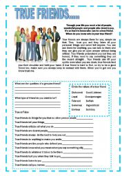 English Worksheets: True Friends  Reading , Activity, Circle, True or false,