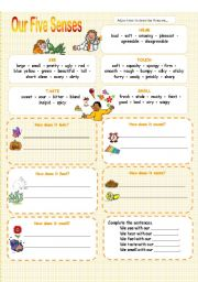 English Worksheet: Five Senses - 3 pages