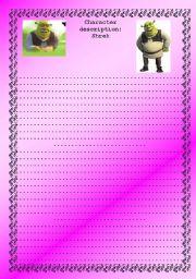 English Worksheet: Shrek Descriptive Writing - (( 4 pages )) - Beginner, intermediate to advanced - editable