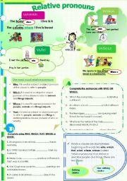 English Worksheet: Relative pronouns who-where-which-whose-that