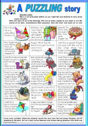 English Worksheet: a PUZZLING story, or story in PUZZLES (part 2)
