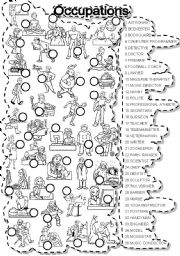 English Worksheet: OCCUPATIONS MATCH and PUZZLE JOBS