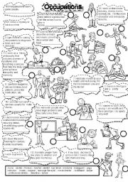 English Worksheet: OCCUPATIONS FILL IN #1  and PICTIONARY JOBS