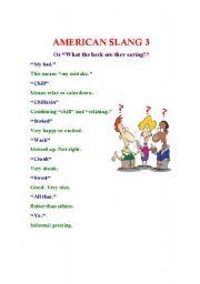 English Worksheet: American Slang 3 (or