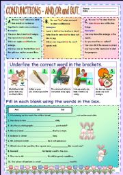 English Worksheet: Conjunctions - and,or and but