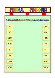 English worksheet: Subject/Object Pronouns