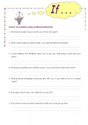 English worksheet: Hypothetical questions. Conditionals.