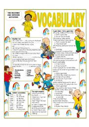 English Worksheets: �RECYCLING VOCABULARY� - TOPIC: THE WEATHER AND OUTDOOR ACTIVITIES . Elementary and up.