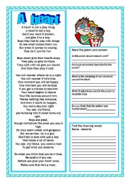 English Worksheet: A heart  Poem about the boys , reading and activitiesPart 2