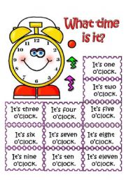 English Worksheet: What time is it? Pair work