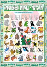 English Worksheets: Endangered Animals - Matching