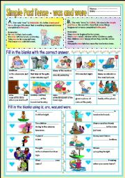 English Worksheet: Simple Past Tense - was and were