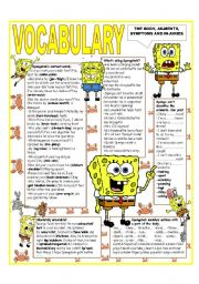 English Worksheet: ´RECYCLING VOCABULARY´ - TOPIC: THE BODY - AILMENTS - SYMPTOMS AND INJURIES. UPPER Elementary & up.