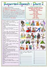 English Worksheet: Reported Speech - Part 2 - Said and told (fully editable - keys included)