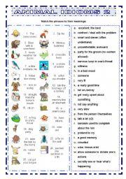 English Worksheet: Animal Idioms 2 matching