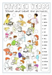 English Worksheet: Kitchen Verbs Pictionary