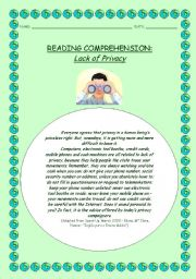 English Worksheets: Reading Comprehension: Lack of Privacy