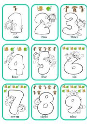 English Worksheets: Numbers Games Cards (Colour)