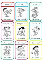 English Worksheet: ´I can´ memory game