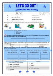 English Worksheets: SUGGESTING AND INVITING : LET � S GO OUT (B&W VERSION INCLUDED)