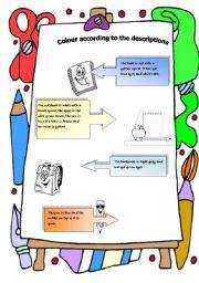 colour by descriptions: school supplies
