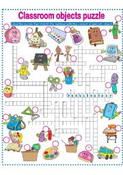 English Worksheet: CLASSROOM OBJECTS PUZZLE!