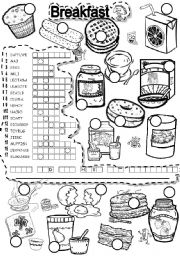 English Worksheet: BREAKFAST PUZZLE