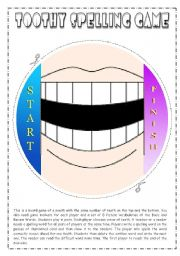 English Worksheet: Toothy Spelling Game