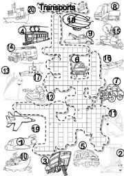 English Worksheet: TRANSPORTS CRISS CROSS PUZZLE