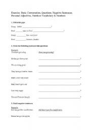 English Worksheet: Basic Conversation, Questions, Negative Sentences, Personal Adjectives, Food Vocabulary & Numbers