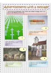English Worksheet: Advertisements with a message
