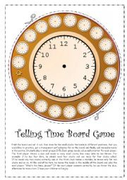 English Worksheet: Telling Time Board Game