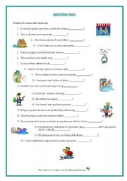 English Worksheets: Question Tags Worksheet. Grammar and Speaking. For Adult Learners