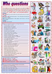English Worksheets: Who questions (grammar guide + exercises) - keys included