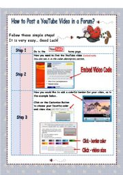 English Worksheets: How to post a You Tube Video in a forum? / Tutorial