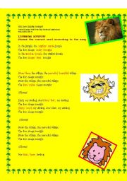 English Worksheet: the lion sleeps tonight